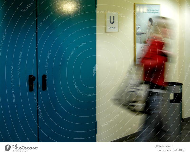 Hurry! Underground garage Claustrophobia Woman Escape Door Fear
