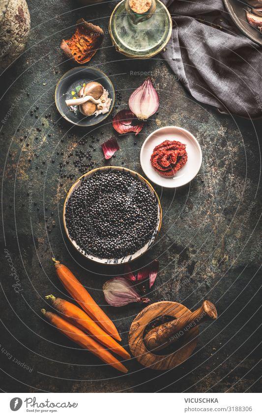 Black lentils with ingredients Food Grain Nutrition Organic produce Vegetarian diet Diet Crockery Style Design Healthy Eating Table Vegan diet