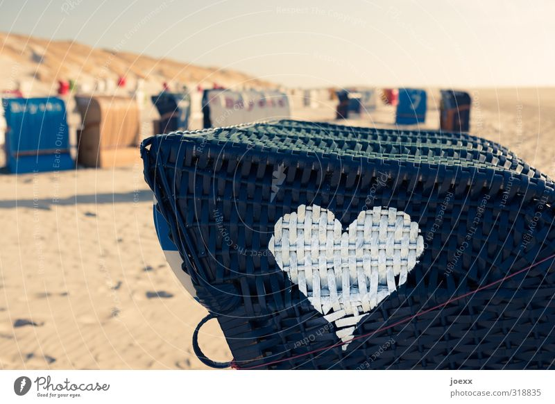 The right to look the other way Vacation & Travel Summer vacation Sky Horizon Beautiful weather Coast Beach Deserted Sand Plastic Sign Heart Blue Brown Red