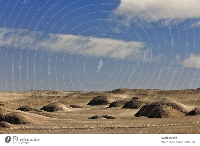Round yardangs-wind eroded rocks-Qaidam desert-Qinghai-China-568 Sky Vacation & Travel Nature Blue Colour Beautiful White Landscape Sun Relaxation Clouds