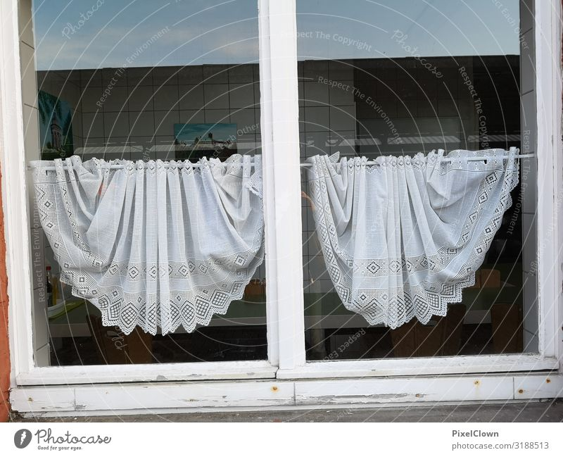 Curtains in front of the window curtains Living or residing Flat (apartment) Life Window Facade built White Architecture