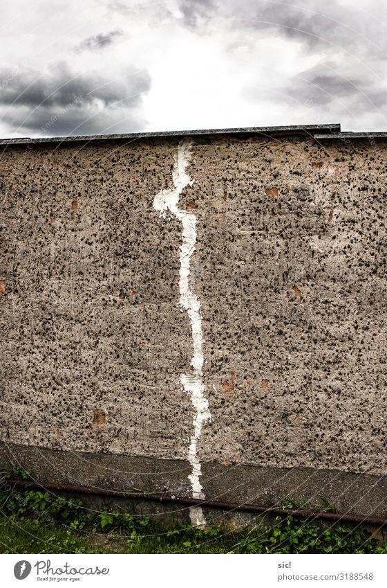 White Clouds Dark Wall (building) Wall (barrier) Stone Facade Gray Horizon Arrangement Broken Concrete Sharp-edged Crack & Rip & Tear Plaster Redecorate