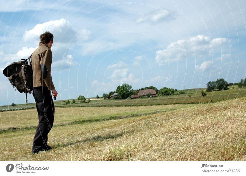 rural exodus Field Backpack In transit Sky insanity David Lynch Hiking