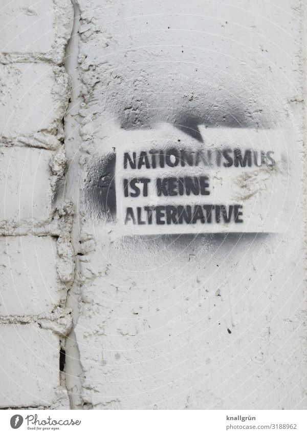 NATIONALISM IS NOT AN ALTERNATIVE Characters Signs and labeling Graffiti Communicate Black White Emotions Humanity Responsibility Experience Peace Society Life