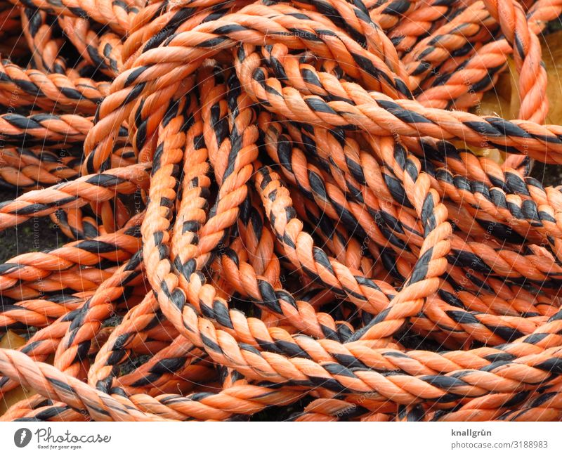 Pitfall Rope Lie Orange Black pitfall Warning colour Hawser Loop strand Plaited Two-tone Colour photo Exterior shot Deserted