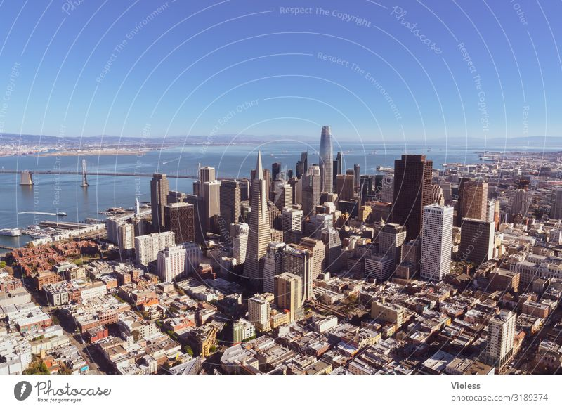San Francisco City California USA Town High-rise Oakland Bay Bridge Transamerica pyramid