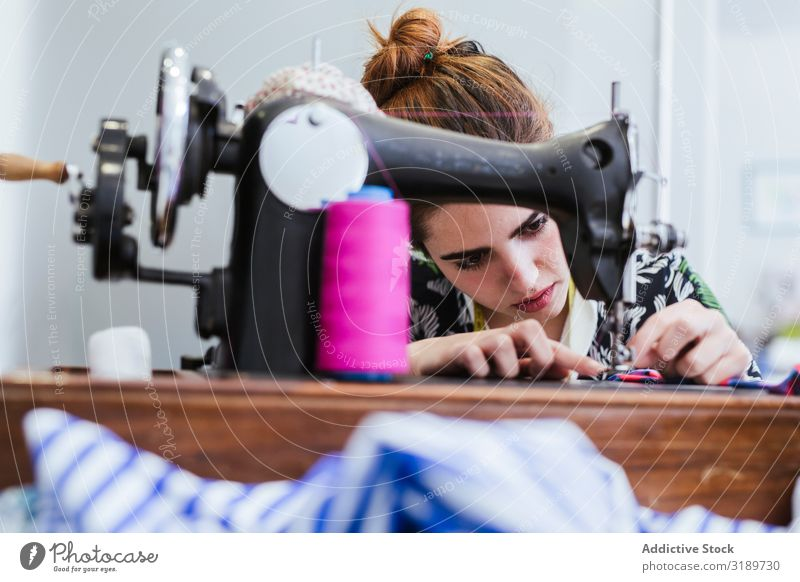 Teenage girl in a sewing school Woman Grade (school level) Classroom Youth (Young adults) Clothing Embroidery Factory Girl Profession machine Pattern School