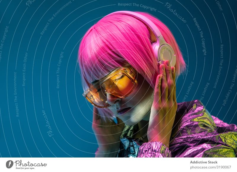 Young woman listening to music Woman Listening Music Headphones Youth (Young adults) asian Happy Human being Attractive Lifestyle pretty Modern Hip & trendy