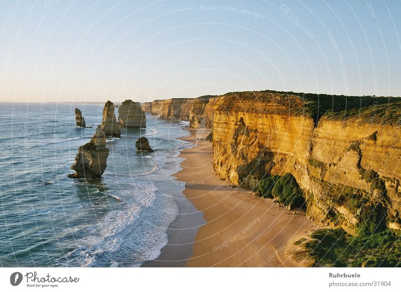 Twelve Apostles Ocean Coast Cliff Sunset Australia Rock Nature