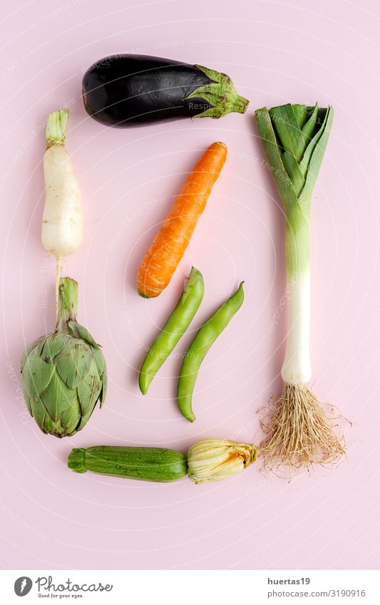 fresh vegetables knolling composition on white background Food Vegetable Nutrition Vegetarian diet Diet Healthy Eating Fresh Natural Green Pink White healthy