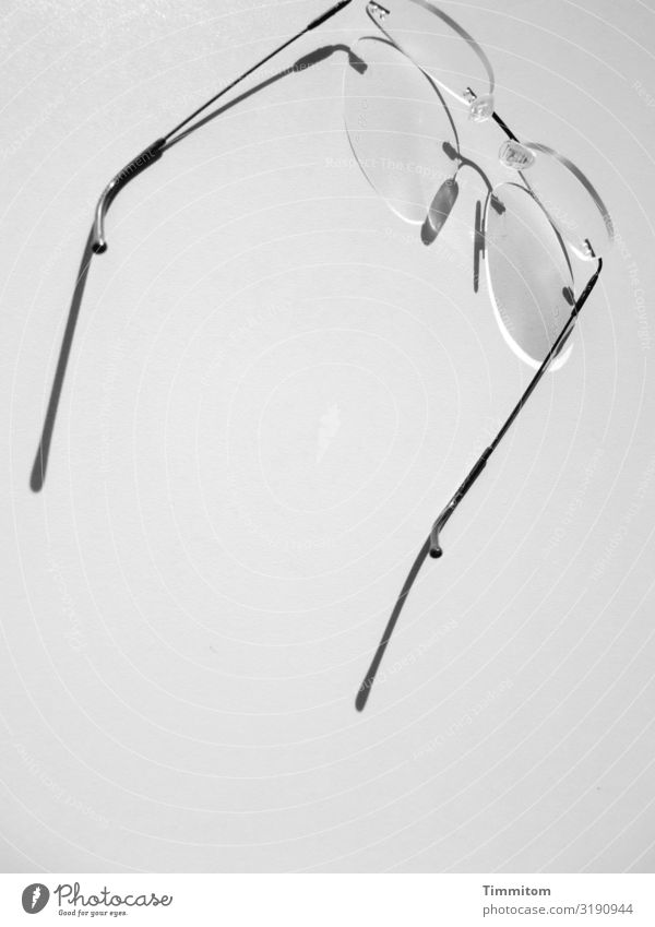 farsighted | glasses help Work and employment Office Eyeglasses Metal Plastic Wait Esthetic Gray Black White Emotions Out of service aids Black & white photo