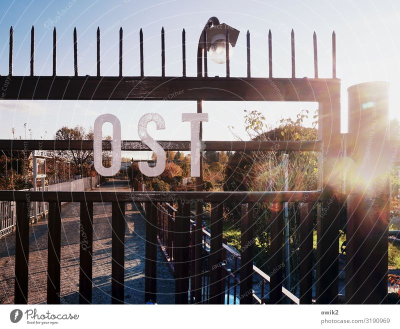 ostalgia Cloudless sky Beautiful weather Tree Bushes Garden Garden allotments Garden plot Main gate Gate Lanes & trails Grating Metal Characters Glittering