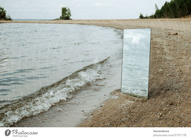 Mirror standing on a beach with waves reflection Beach Conceptual design Environment Horizontal Landscape Nature Exterior shot Reflection River Sand Seasons Sky