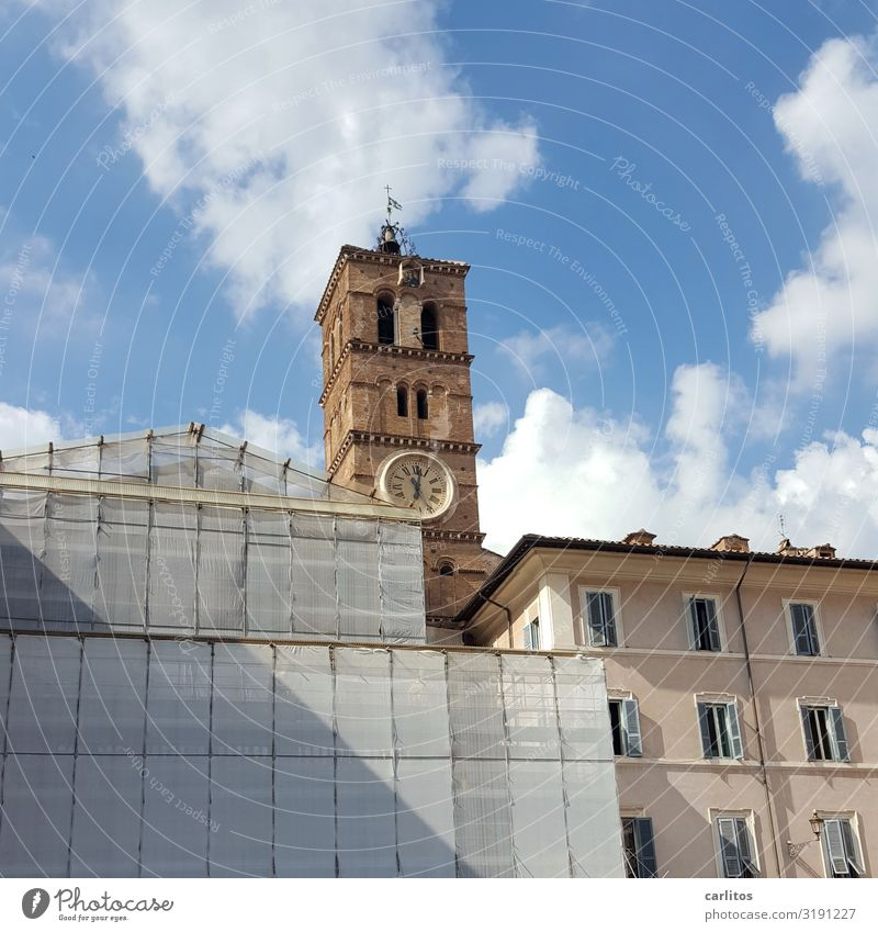 Rome, everything new. Italy Old town Church Church spire Portal Scaffolding Redecorate Modernization Redevelop Packaged Covers (Construction) christo