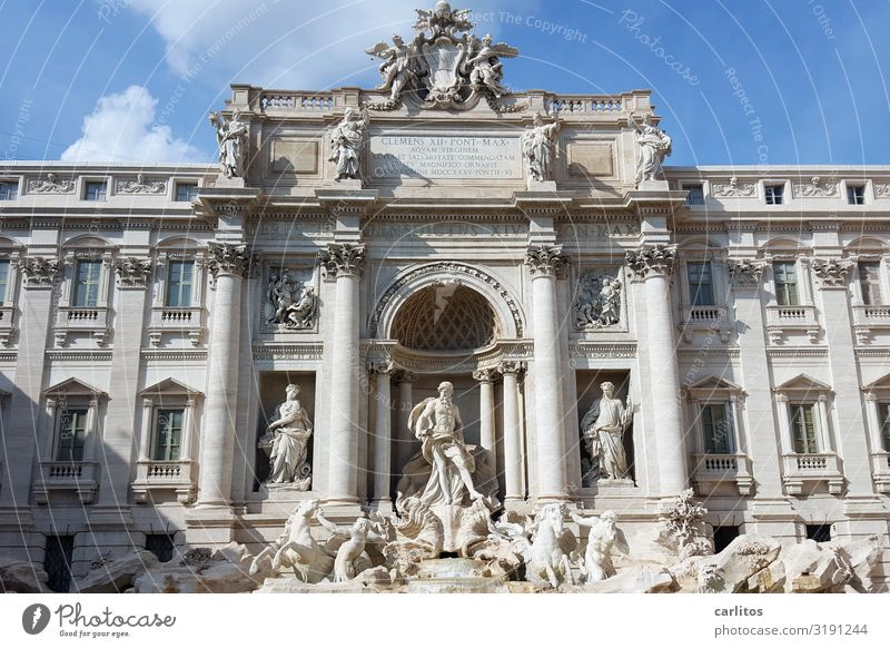 Rome Trevi Fountain Tourism Culture Monument Kitsch Italy Trevi well Well Statue Wide angle