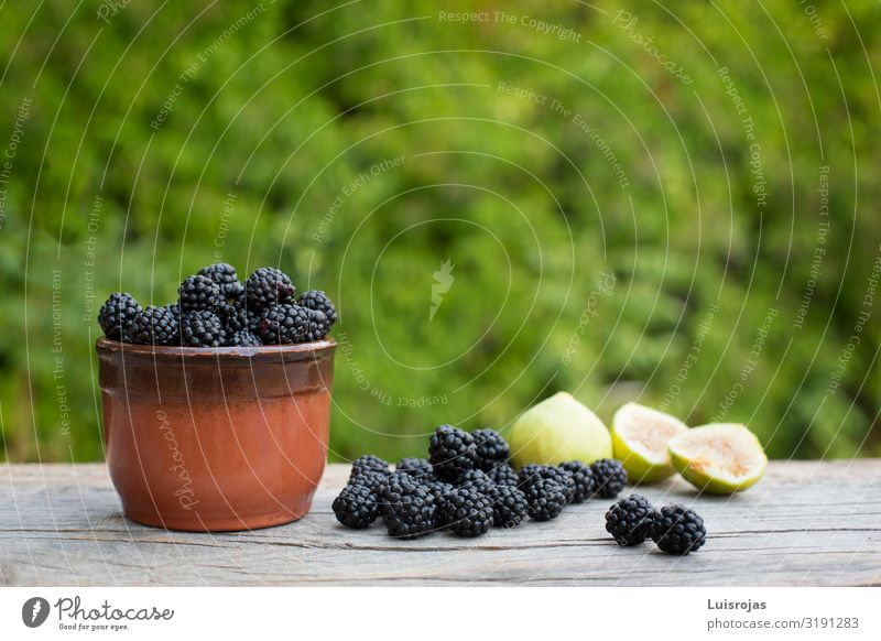 Still life with blackberries and figs on green background Food Fruit Dessert Blackberry Figs Breakfast Organic produce Vegetarian diet Bowl Nature Plant