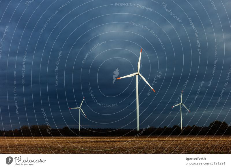 Radiating wind turbines Technology Advancement Future Energy industry Renewable energy Wind energy plant Environment Landscape Sky Clouds Autumn Climate