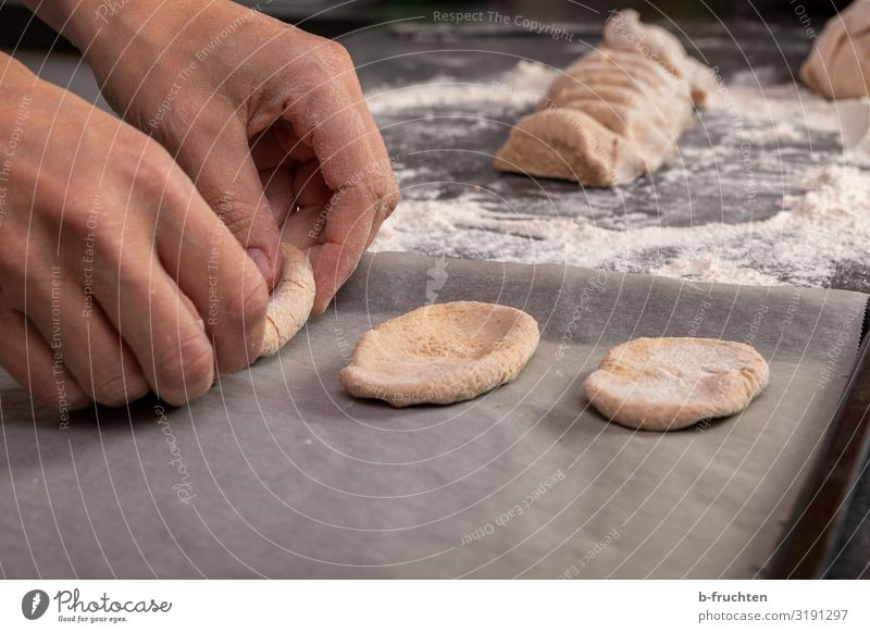 spread dough Food Dough Baked goods Bread Nutrition Healthy Eating Cook Kitchen Hand Fingers Work and employment Utilize Touch Accuracy knead Baking tray Flour