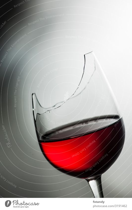 Upper part of broken wine glass with red wine Beverage Alcoholic drinks Wine Crockery Glass Design Drinking Art Exceptional Gray Red Threat Idea Creativity