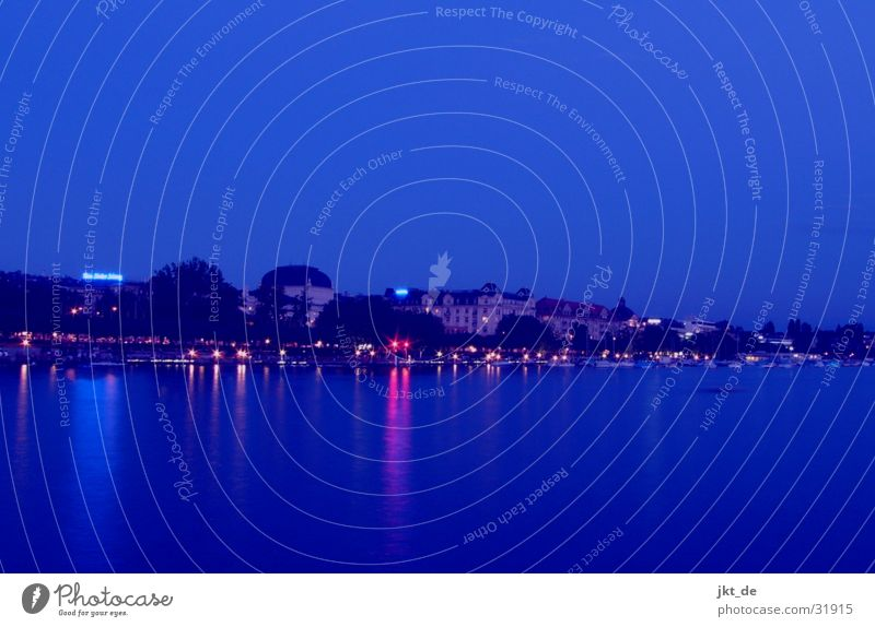 zurich by nite Switzerland Night Long exposure Lake zurich Europe Zurich Blue