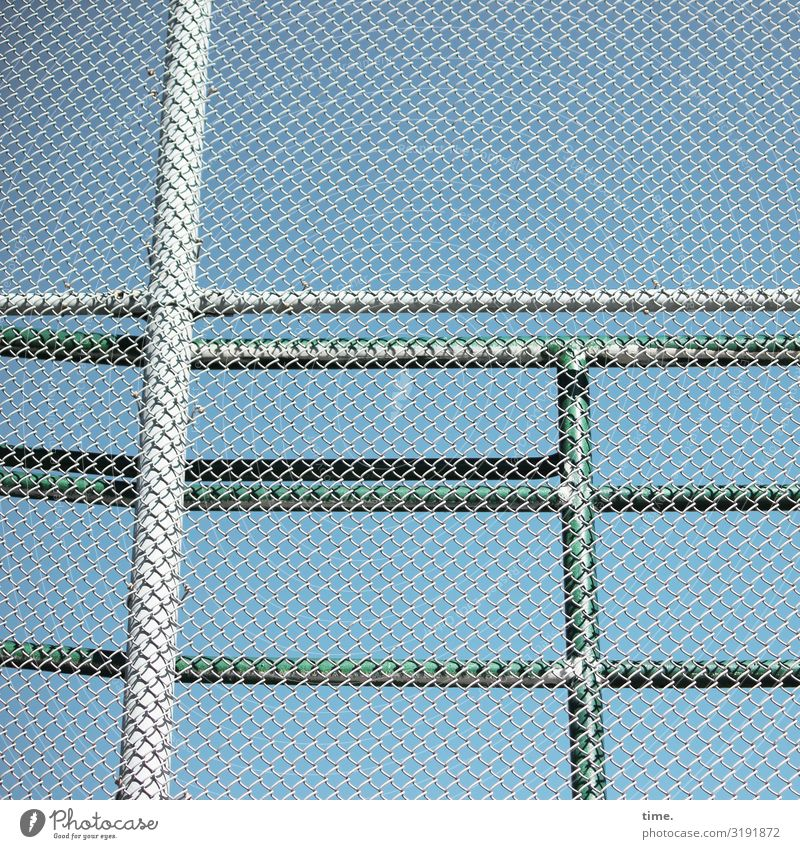 Stories of the fence (XXXIII) Sky Beautiful weather Fence Fence post Wire netting Wire netting fence Handrail Metal Steel Line Network Blue Gray Green Safety