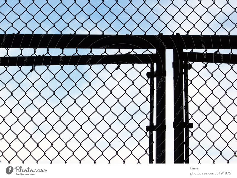 Stories of the fence (XXXVIII) Sky Beautiful weather New York City Manmade structures Door Gate Fence Wire netting Wire netting fence Line Network Safety