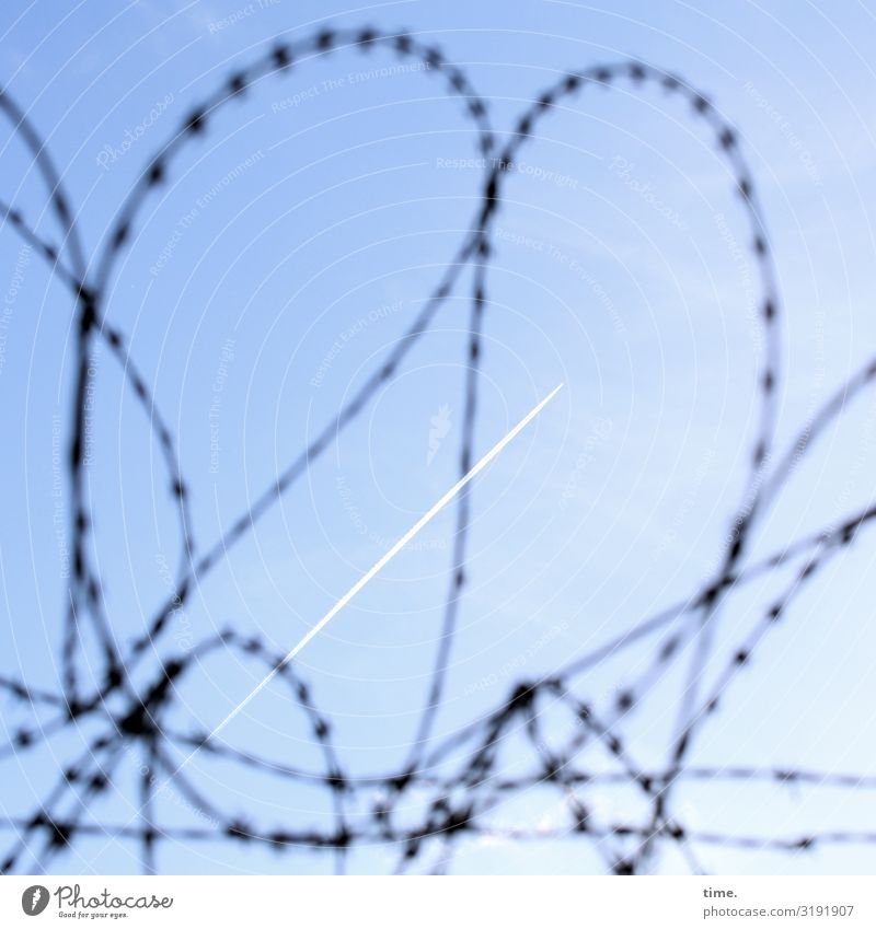 Stories of the fence (XXXIV) Sky Beautiful weather Aviation Vapor trail Fence Barbed wire Barbed wire fence Line Sharp-edged Town Blue Might Safety Protection
