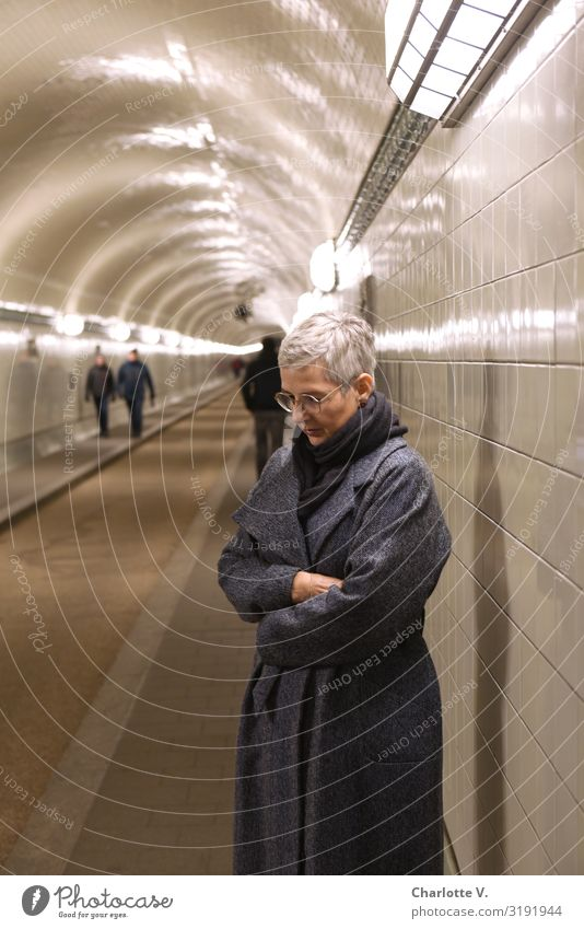 Weltschmerz in the Elbe Tunnel Human being Feminine Woman Adults Female senior Senior citizen 1 45 - 60 years Hamburg Germany Europe Town Port City