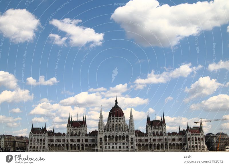 Parliament, Budapest Sky Clouds Beautiful weather Hungary Town Capital city Downtown Old town Palace City hall Tower Manmade structures parliament building