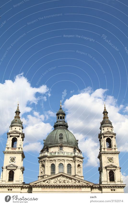 St. Stephen's Basilica, Budapest Sky Clouds Beautiful weather Hungary Town Capital city Downtown Old town Church Dome Tower Tourist Attraction Blue White Belief