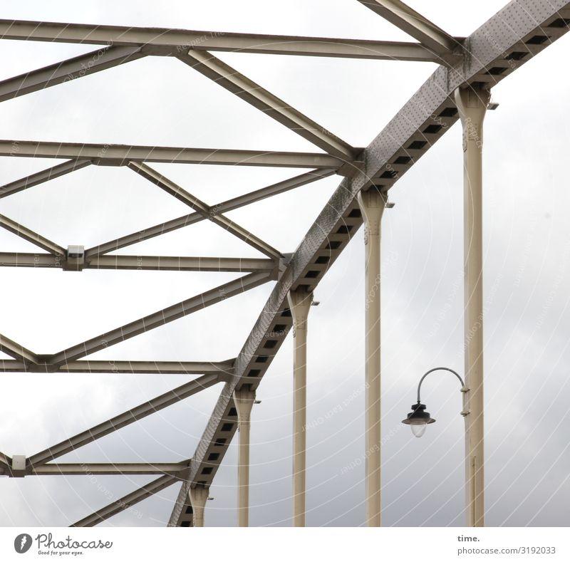 Lightboxes (IX) Sky Clouds Storm clouds Bad weather Bridge Manmade structures Building Architecture Lamp Lantern Metal Steel Line Stripe Together Endurance
