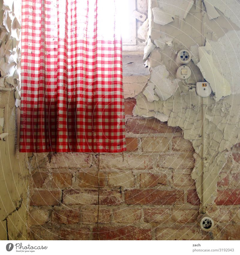 Old Window Interior design Wall (building) Wall (barrier) Brown Living or residing Decoration Transience Broken Decline Brick Ruin Redecorate Curtain Socket