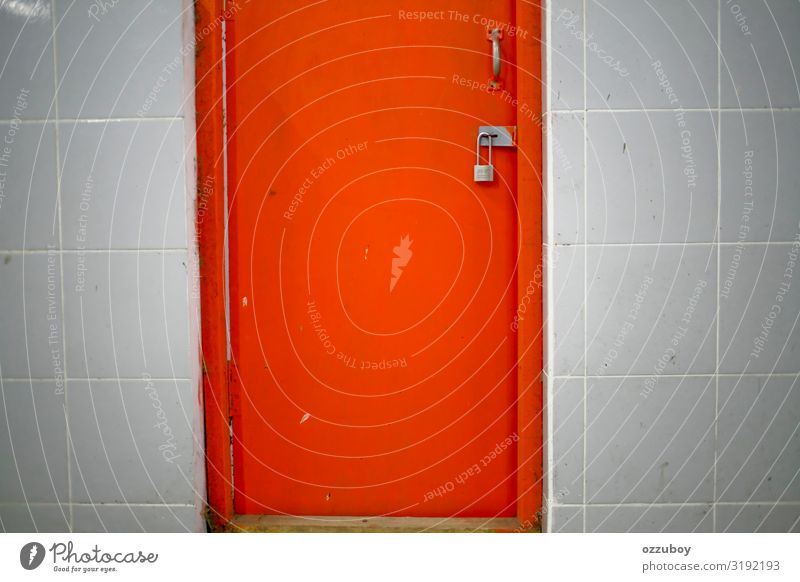close up orange door locked Colour House (Residential Structure) Architecture Wood Wall (building) Building Wall (barrier) Orange Metal Door Places Concrete