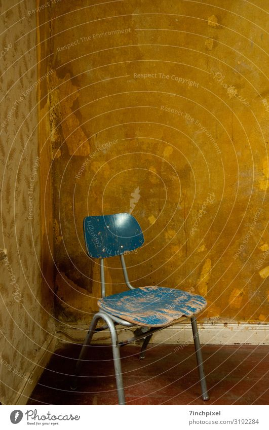 lounge Chair Wallpaper Room Wood Metal Old Dirty Broken Trashy Gloomy Blue Brown Decline Transience Colour photo Subdued colour Interior shot Deserted