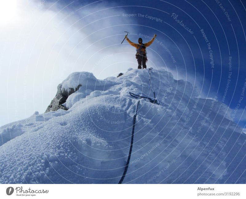 Human being Sky Man Joy Mountain Adults Environment Snow Happy Masculine Ice Power Success Adventure Beautiful weather Climate