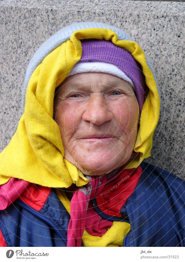 Russian Bag Lady 3 Senior citizen Friendliness Multicoloured Headscarf Cap Woman Female senior approx. 80 years