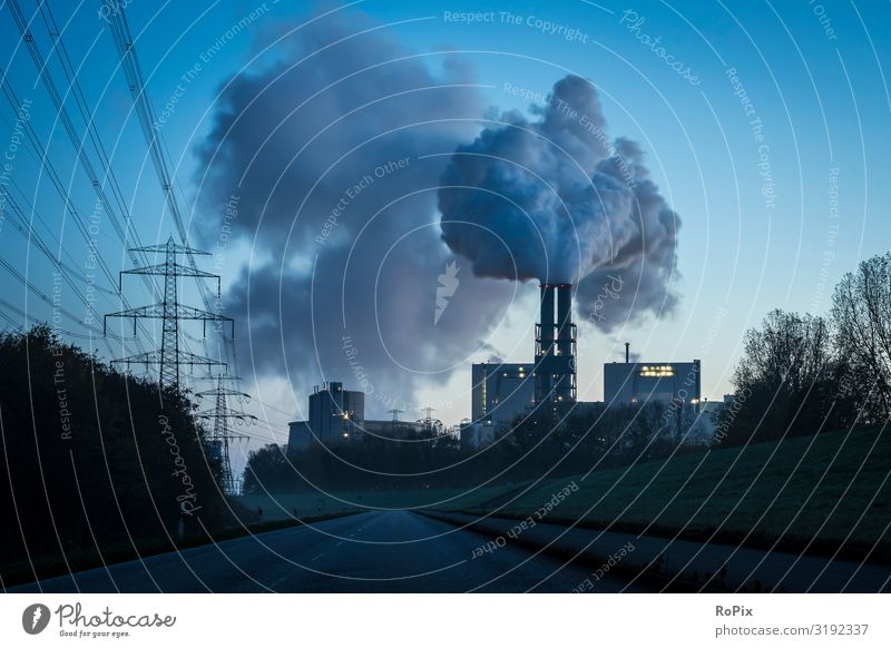 Electrical power station at dusk. Lifestyle Luxury Design Science & Research Work and employment Profession Workplace Factory Economy Industry Trade