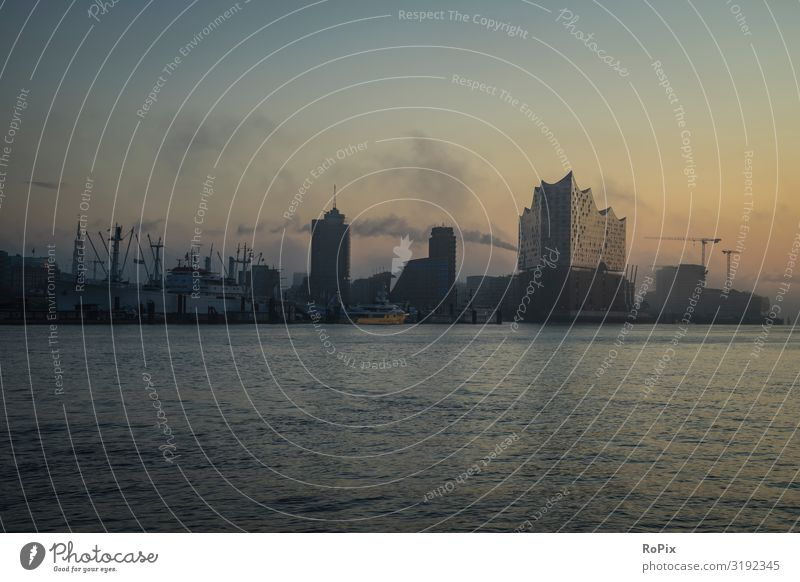 Skyline of Hamburg at early morning. Lifestyle Elegant Design Harmonious Relaxation Vacation & Travel Sightseeing City trip Work and employment Workplace Office