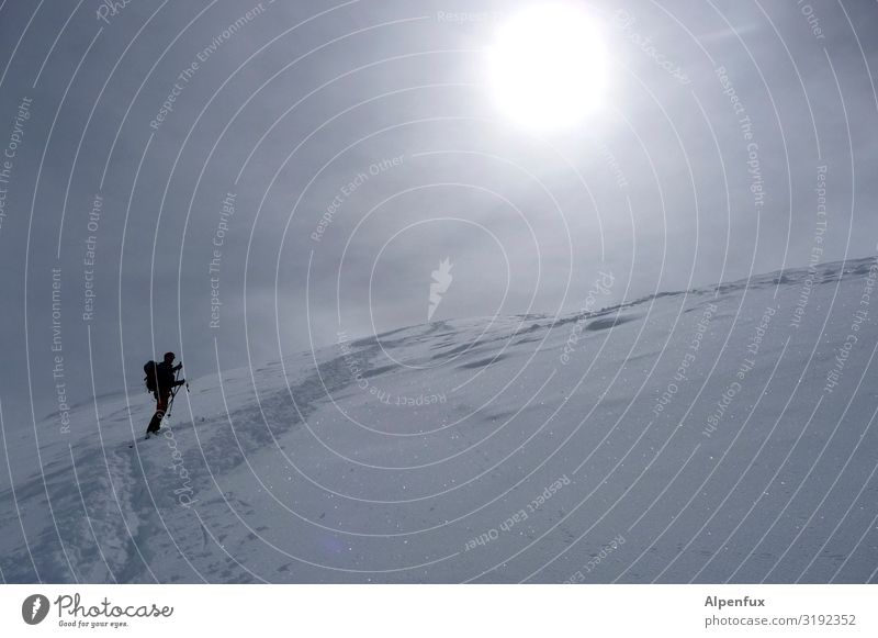Human being Loneliness Mountain Snow Sports Horizon Fear Ice Dream Success Adventure Beautiful weather Dangerous Transience Climate Threat