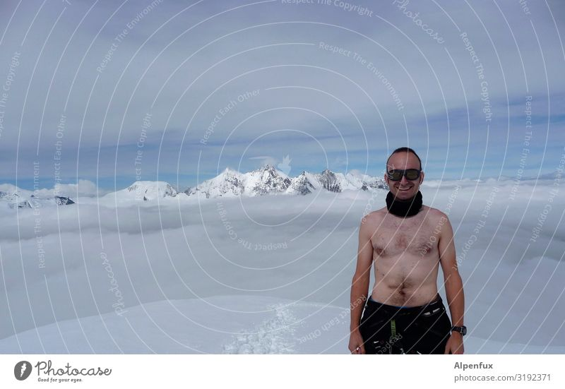 Chippendale on Ice Man Adults Chest Beautiful weather Frost Hill Rock Alps Mountain Canton Wallis Peak Snowcapped peak Glacier Smiling Laughter Joy Happy