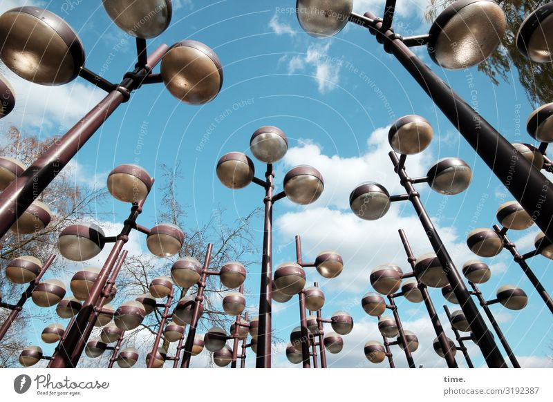 Lightboxes (IV) Art Work of art Sculpture Sky Clouds Beautiful weather Lamp Street lighting Glass Metal Exceptional Exotic Together Town Watchfulness Life