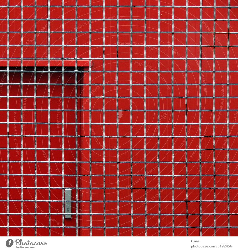 Stories of the fence (XXXVI) Hamburg Building Door Fence Grating Mesh grid Line Network Town Gray Red Safety Protection Endurance Unwavering Fear Nerviness
