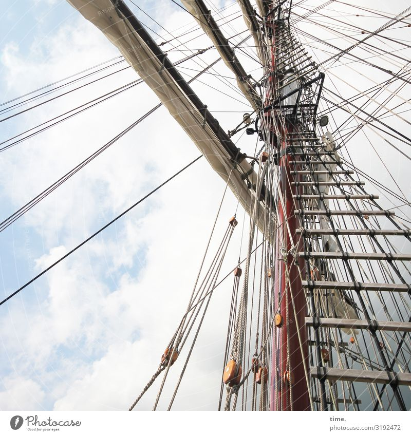 Cervical Spine Training (XXII) Sky Clouds Beautiful weather Navigation Sailing ship Mast Ladder Rope Dew Wood Line Tall Maritime Together Endurance Unwavering