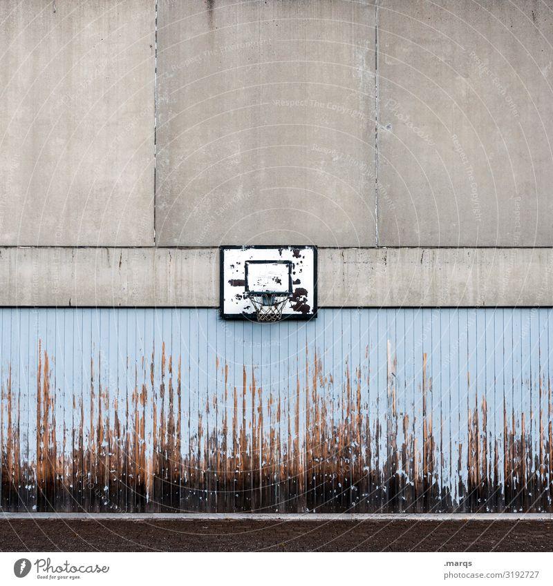 basketball hoop Leisure and hobbies Sports Ball sports Basketball basket Wall (barrier) Wall (building) Schoolyard Concrete Wood Old Broken Blue Gray Black
