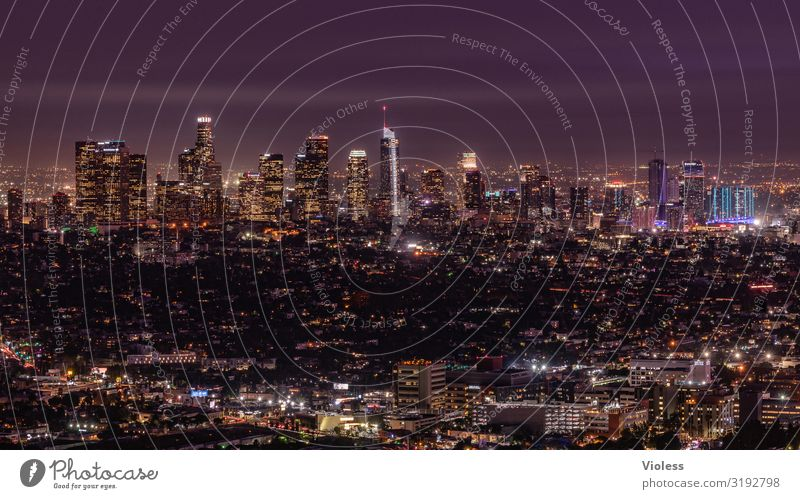 Los Angeles California Americas USA Skyline Night Dark Lighting Hollywood Town Long exposure Wide angle