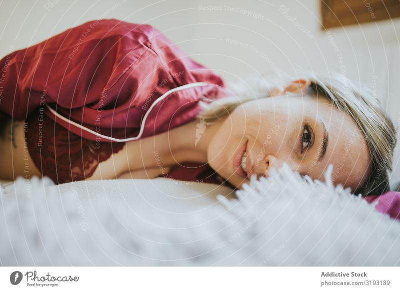 Woman and smiling in bed Smiling Youth (Young adults) Bedroom Pillow Beautiful Relaxation Human being Home Morning Sleep Comfortable Resting Dream Attractive