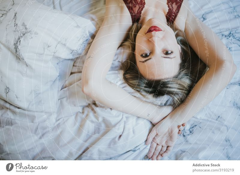 Woman lying in bed at home Alluring Eroticism Lie (Untruth) Bed opened mouth Youth (Young adults) Beautiful Bedroom Home Human being Resting Happy Hot Intimate