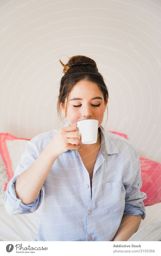 woman drinking coffee with closed eyes Woman Beauty Photography Dream Closed eyes Coffee Drinking human face Energy romantic Morning Considerate Sit Breakfast