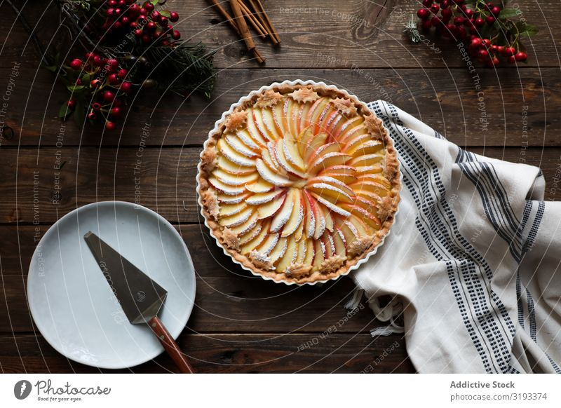 tasty apple pie on a wooden table ready to eat Pie Apple Fresh Wood Rustic Window Home-made Day Brown Confectionary Organic parchment Warmth Aromatic Dessert