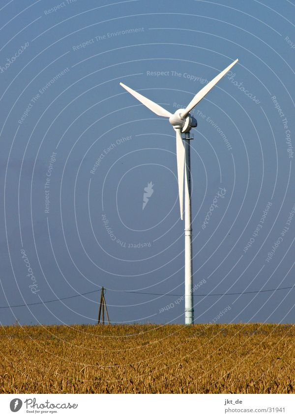 wind turbine solo 2 Cornfield Summer Electricity Industry Wind energy plant Sky Cable